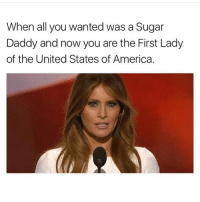 All Melania wanted was a white Mercedes, some red bottom shoes, and to stop eating rubble for breakfast in an Eastern European hut, and now she has to deal with this shit. (@theamericanizedfrench): When all you wanted was a Sugar  Daddy and now you are the First Lady  of the United States of America. All Melania wanted was a white Mercedes, some red bottom shoes, and to stop eating rubble for breakfast in an Eastern European hut, and now she has to deal with this shit. (@theamericanizedfrench)