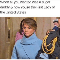 Memes, Germany, and Sugar: When all you wanted was a sugar  daddy & now you're the First Lady of  the United States I didn't have this in mind 😂😂 yamgram takeyourshirtoff germany neezduts noharmdone rp @donny.drama 🔥