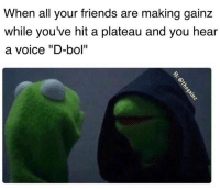 """Friends, Memes, and Tbt: When all your friends are making gainz  while you've hit a plateau and you hear  a voice """"D-bol"""" Tbt"""