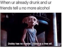 Drunk, Elf, and Funny: When already drunk and ur  friends tell uno more alcohol  Dobby has no master Dob  ls a free elf