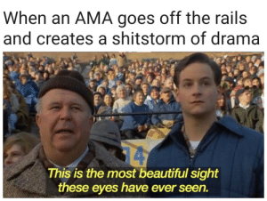 me irl: When an AMA goes off the rails  and creates a shitstorm of drama  14  This is the most beautiful sight  these eyes have ever seen. me irl
