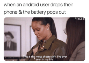 Android, Apple, and Ghetto: when an android user drops their  phone & the battery pops out  This is the most ghetto sh*t I've ever  seen in my life. roseybeano:  alexonyx64:  superpagangirl:   I'm pretty sure in the phones that do that the battery popping out is designed intentionally as a way of absorbing the shock of the landing, so the phone is less likely to be damaged. Apple just lets your phone break so you're forced to buy a new iPhone or buy repairs from the Apple store and oh, look, more money for them.Of course a lot of Android phone makers are adopting Apple's exploitative design practices now too to some degree so, you know, everything's shit.  ….not everything is shit…You are amazing !!!