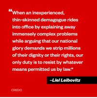 """Liel Leibovitz is right! We must stand up against Trump's agenda of fascism, racism, sexism and xenophobia. #heretostay: When an inexperienced,  thin-skinned demagogue rides  into office by explaining away  immensely complex problems  while arguing that our national  glory demands we strip millions  of their dignity or their rights, our  only duty is to resist by whatever  means permitted us by law.""""  -Liel Leibovitz  CREDO Liel Leibovitz is right! We must stand up against Trump's agenda of fascism, racism, sexism and xenophobia. #heretostay"""