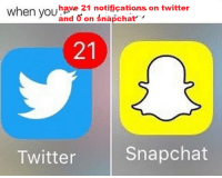 me irl: when and 21 notifications, on twitter  on Snapcha  have Snapchat  Twitter me irl