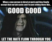 Good Good Let The Hate Flow Through You: When anew person is hired at work and they finally  accept that our job sucks andI'm just sitting there like...  GOOD GOOD  LET THE HATE FLOW THROUGH YOU