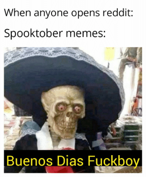 Soon they will be dead: When anyone opens reddit:  Spooktober memes:  Buenos Dias Fuckboy Soon they will be dead