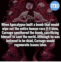 Batman, Memes, and Superman: When Apocalypse built a bomb that would  wipe out the entire human race if it blew,  Carnage smothered the bomb, sacrificing  himself to save the world. Although he was  believed to be dead, Carnage would  regenerate issues later. Even Carnage has some what of a heart! - My other IG accounts @factsofflash @yourpoketrivia @webslingerfacts ⠀⠀⠀⠀⠀⠀⠀⠀⠀⠀⠀⠀⠀⠀⠀⠀⠀⠀⠀⠀⠀⠀⠀⠀⠀⠀⠀⠀⠀⠀⠀⠀⠀⠀⠀⠀ ⠀⠀--------------------- batmanvssuperman xmen batman superman wonderwoman deadpool spiderman hulk thor ironman marvel greenlantern theflash wolverine daredevil aquaman justiceleague homecoming cletuskassidy carnage wallywest redhood avengers hobgoblin injustice tomholland peterparker like4like injustice2