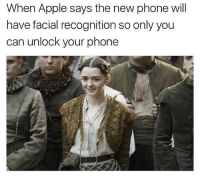 Apple, Memes, and Phone: When Apple says the new phone will  have facial recognition so only you  can unlock your phone Not a problem for the faceless (@drgrayfang)