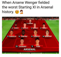 Arsenal, Bad, and Memes: When Arsene Wenger fielded  the worst Starting XI in Arsenal  history.  21 FABIANSKI  15 CHAMBERLAIN 26 FRIMPONG 39 COQUELIN 30 BENAYOUN  29 CHAMAKH 9 PARK  ARSENAL Omg this side is bad 👎😂