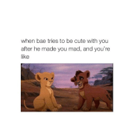 Bae, Cute, and Love: when bae tries to be cute with you  after he made you mad, and you're  like goodnight love you 🙈😊