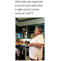 5 Am, Bae, and Memes: when bae was supposed  to come home early after  a night out but comes  home at 5 AM Where you been? 😂 Credit: @catnicolegg