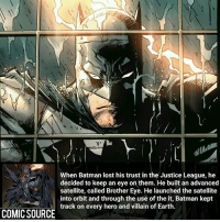 Batman, Facts, and Joker: When Batman lost his trust in the Justice League, he  decided to keep an eye on them. He built an advanced  satellite, called Brother Eye. He launched the satellite  into orbit and through the use of the it, Batman kept  track on every hero and villain of Earth.  COMIC SOURCE Batsey is very resourceful _____________________________________________________ - - - - - - - Superboy Aquaman Batman Nightwing Flash Robin Superman EzraMiller Joker GreenLantern WonderWoman Ironman GreenArrow JusticeLeague Supergirl Marvel Deadpool DawnofJustice BenAffleck Cyborg DCComics DC DCRebirth Rebirth Spiderman ComicFacts Comcis Facts Like4Like Like