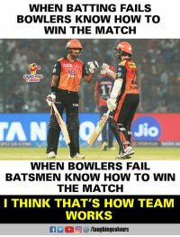 #SRHvDD #IPL: WHEN BATTING FAILS  BOWLERS KNOW HOW TO  WIN THE MATCH  LAUGHING  AN  to  WHEN BOWLERS FAIL  BATSMEN KNOW HOW TO WIN  THE MATCH  I THINK THAT'S HOW TEAM  WORKS  R 2 0回參/laughingcolours #SRHvDD #IPL