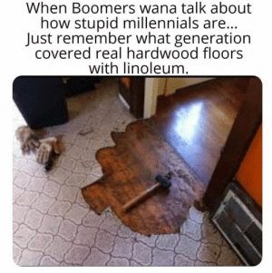 How Stupid: When Boomers wana talk about  how stupid millennials are...  Just remember what generation  covered real hardwood floors  with linoleum.