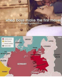 Belgium, Ally, and France: when boys make the first move  vuelo me  1939  Central powers  SWEDEN  LATVIA  Allied Powers  NMARK  Neutral countries  Soviet Union  LITHUANIA  Danzig  East  THE  Prussia  NETHERLANDS  SOVIET  Berlin  NION  PO  BELGIUM  GERMANY  FRANCE  SLOVAKIA