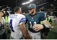 Memes, Tbt, and Time: When @cj_wentz met @dak for the first time...  Four quarters was NOT enough. #tbt #PHIvsDAL https://t.co/UivZ6RF1Vk