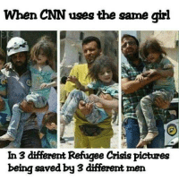 cnn.com, Memes, and Girl: When CNN uses the same girl  In 3 dfferent Refugee Crisis pictures  being saved by 3 different men Will be posting images of the false flags in Syria used in the global psychological warfare on the subconscious thinking of the general public to push wars based on lies. DonaldTrump Trump