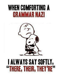 """(Gaffer): WHEN COMFORTING A  GRAMMAR NAZI  I ALWAYS SAY SOFTLY,  """"THERE, THEIR, THEY'RE"""" (Gaffer)"""