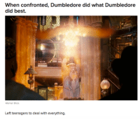 Dumbledore, Memes, and 🤖: when confronted, Dumbledore did  what Dumbledore  did best.  Left teenagers to deal with everything. ~Dobby