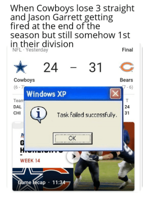 My friend is a cowboys fan and was rooting for the bears because he wants a new head coach so I sent this to him: When Cowboys lose 3 straight  and Jason Garrett getting  fired at the end of the  season but still somehow 1st  in their division  NFL Yesterday  Final  24  31  Cowboys  (6 - 7  Windows XP  Team  Bears  7-6)  DAL  24  CHI  31  Task failed successfully.  OK  WEEK 14  Game recap · 11:34 My friend is a cowboys fan and was rooting for the bears because he wants a new head coach so I sent this to him