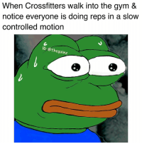 What kind of sorcery is this?: When Crossfitters walk into the gym &  notice everyone is doing reps in a slow  controlled motion  IG: @thegainz What kind of sorcery is this?