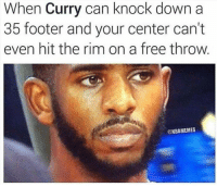 Chris Paul, Nba, and Free: When Curry can knock down a  35 footer and your center can't  even hit the rim on a free throw  @NBAMEMES OHH Chris Paul.