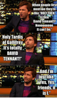 "Friends, Memes, and Fuck: When deople first  meetme theyre  like ""HOLY FUCK  David Tennant!?  N000000000.  It can't be.""  Holy Tardis  of Gallifrev  it's totally:.  DAVID  TENNANT!""  nnantssideburos  Yes, Yes  friends, it"