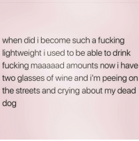 When I turned 25 that's when: when did i become such a fucking  lightweight i used to be able to drink  fucking maaaaad amounts now i have  two glasses of wine and i'm peeing on  the streets and crying about my dead  dog When I turned 25 that's when