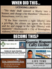 "What happened?!: WHEN DID THIS  LICENSING LIBERTY  ""No state shall convert a liberty into a  license, and charge a fee therefore"" (Murdock v  Pennsylvania, 319 U.S. 105)  ""If the State converts a right (liberty) into  a privilege, the citizen can ignore the license  and fee and engage in the right (liberty) with  impunity."" (Shuttlesworth v. City of Birmingham,  Alabama, 373 U.S. 262)  THEFREETHOUCHTPROJECTCOM  BECOME THIS?  MEDICAL CANNABISIDENTIFICATION  Georgia Weapons  Roger A. Barnes, MD  Carry License  HAWAII  DRIVER  TOWN OF SUN PRAIRIE  LICENSE  APPLICATION FOR DOG LICENSE  01-47-87441  Please Return Entire Form For Dog License  Doe OGIO3/1981 Exp 06/03/2008  EYES S-10  LIFETIME  First Amendment Area  HUNTING AND FISHING LICENSE  This area has been set aside  This In Certify uhat:  for individuals or groups What happened?!"
