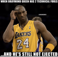 Draymond Green, Nba, and Green: WHEN DRAYMOND GREEN HAS 2 TECHNICAL FOULS  @NBAMEMES  RS  24  AND HE'S STILL NOT EJECTED Anyone else seeing this? 😭😂