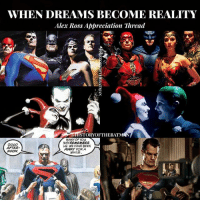 "Afternoon Gothamites! With all of the Warner Bros. and DCEU news that came out today during San Diego Comic Con, I just wanted to take time and appreciate the work of one of my favorite artists, Alex Ross @TheAlexRossArt and how much of his illustrations have inspired posters and imagery in Extended Universe films from Justice League (top panel, Ross' ""JLA: The Original Seven"" from 2000), Suicide Squad (middle screenshot, Ross' cover from 1999's ""Batman: Harley Quinn"") and Batman v Superman: Dawn of Justice (bottom poster, Ross' panel from 1996's ""Kingdom Come""). Alex Ross' hyper realistic paintings bring to life many of our favorite characters, it makes this fiction feel much more real for us fans. Thanks for following and we'll have more SDCC news and History of the Batman soon! ✌🏼💙🦇🎬🎨: WHEN DREAMS BECOME REALITY  Alex Ross Appreciation Thread  aHISTORYOFTHEBAT  GOOp  AFTER  NOON  MANY OF YOU  MAYREMEMBER  S. WE HAVE BEEN  AWAY FOR A  WHILE Afternoon Gothamites! With all of the Warner Bros. and DCEU news that came out today during San Diego Comic Con, I just wanted to take time and appreciate the work of one of my favorite artists, Alex Ross @TheAlexRossArt and how much of his illustrations have inspired posters and imagery in Extended Universe films from Justice League (top panel, Ross' ""JLA: The Original Seven"" from 2000), Suicide Squad (middle screenshot, Ross' cover from 1999's ""Batman: Harley Quinn"") and Batman v Superman: Dawn of Justice (bottom poster, Ross' panel from 1996's ""Kingdom Come""). Alex Ross' hyper realistic paintings bring to life many of our favorite characters, it makes this fiction feel much more real for us fans. Thanks for following and we'll have more SDCC news and History of the Batman soon! ✌🏼💙🦇🎬🎨"