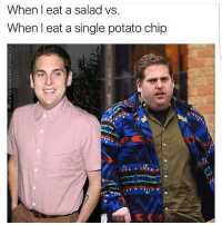 Memes, Potato, and Single: When eat a salad vs.  When I eat a single potato chip 😩😂 But why?!.. Double tap if you can relate! howtolosefat