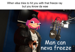 Protect da ice queen by Bowie_Steutel FOLLOW 4 MORE MEMES.: When elsa tries to hit you with that freeze ray  but you know da wae  neonator  1tra  Man can  neva freeze Protect da ice queen by Bowie_Steutel FOLLOW 4 MORE MEMES.