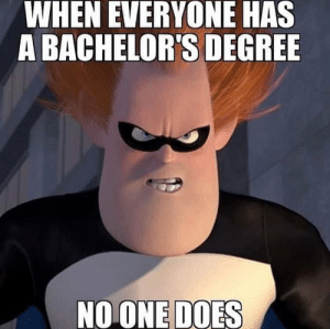 Irl, Me IRL, and Degree: WHEN EVERYONE HAS  A BACHELOR'S DEGREE  NOONE DOES me irl