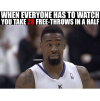 Brb turning this game off 😂😭😂😭: WHEN EVERYONE HASTOWATCH  YOU TAKE 28 FREE-THROWSINA HALF  @NBAMEMES Brb turning this game off 😂😭😂😭