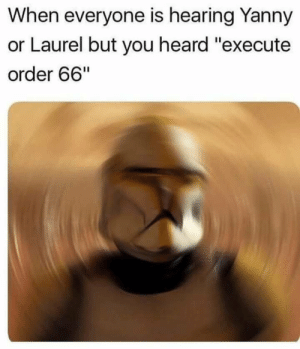 "Laurel, You, and Hearing: When everyone is hearing Yanny  or Laurel but you heard ""execute  order 66"" Subliminal messaging"
