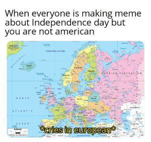 Independence Day, Meme, and Mgk: When everyone is making meme  about Independence day but  you are not american  www.swe  rT  Norlh Cape  Now Zomyo  Jan Maya  Norway  GREENAND  KalaaNanaal  Darma  Vont  Kaigyev  Kara ra  Cape  Kurin Nua  NORWEGIAN SEA  M  ernete  n mgk SFraz  KELAND  Valn  Koin  Chan  ANCO  wHE S  ..Id1e  rs  b SWEDEN  RE  FINAND  RUS SIA N FEDER ATION  Fars iniand  Decmank  Luta が  NORWAY  ls lan  Shalland inan  MBS  ONA  dnge  Gland  edr  inicel  NOATH  feilan  ound  シー TC SEA  Adsins  reHA  rocN  British  Islas  UTHJAN  SEA  UNED  th owi  KNGOOM  Co  REAND  NOREH  COme  ELARUS  adnG, N-ANC  POLAND  Sowe  aocs  h  4  Chaint  KAZAKHSTAN  rabsh  Depres  FRANCE  UERAINE  A TLA NTIC  Ar  He  ENDARYBOMANA  Sames  o  ta t  SBR  r  Ma  zKStAN  se  BLACK SEA  JALY  picacw  CASPIAN  OCEAN  MAD  SPAN  ORKMENSIAN  eoe  K-Kum  tURKEH  ocet  aries in european  PCRE  Arorer  Sann  Panuga5  SEA  EUROPE  a9o kre.  Sheo  840  ncan All Ria Reerwd  oee  ALGEUA  MEDKERRANEAN SEA  RAN  w f CI00D  Phe That's so sad