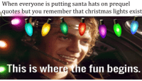 prequel: When everyone is putting santa hats on prequel  quotes but you remember that christmas lights exist  This is where the fun begins.