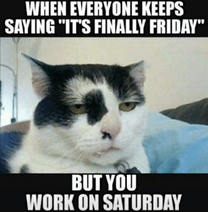 """Its Finally Friday: WHEN EVERYONE KEEPS  SAVING """"IT'S FINALLY FRIDAY  BUT YOU  WORK ON SATURDAY"""
