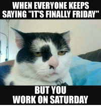 """For everyone who has to work the weekend...: WHEN EVERYONE KEEPS  SAYING ITS FINALLY FRIDAY""""  BUT YOU  WORKON SATURDAY For everyone who has to work the weekend..."""