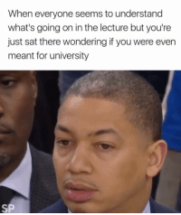 Sat, University, and You: When everyone seems to understand  what's going on in the lecture but you're  just sat there wondering if you were even  meant for university