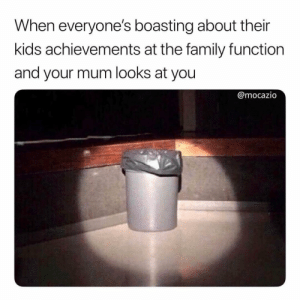 H*ck I still do this!: When everyone's boasting about their  kids achievements at the family functiorn  and your mum looks at you  @mocazio H*ck I still do this!