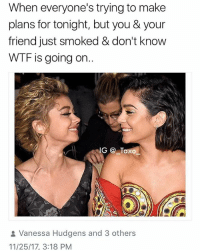 Memes, Weed, and Wtf: When everyone's trying to make  plans for tonight, but you & your  friend just smoked & don't know  WTF is going on  IG Taxo  Vanessa Hudgens and 3 others  11/25/17, 3:18 PM Follow @BigMike for the best weed posts and memes 😙💨😂 @BigMike