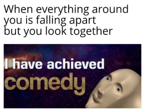 Much Achievement, Such Comedy: When everything around  you is falling apart  but you look together  have achieved  comedy Much Achievement, Such Comedy