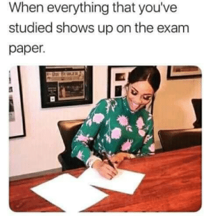 Studied: When everything that you've  studied shows up on the exam  раper.  RIR