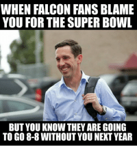 Memes, 🤖, and 8 8: WHEN FALCON FANS BLAME  YOU FOR THE SUPER BOWL  BUT YOU KNOW THEY ARE GOING  TO GO 8-8 WITHOUTYOU NEXT YEAR