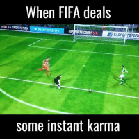 Fifa, Memes, and Karma: When FIFA deals  EA SPORTS FIAA  some instant karma I can't think of anything more pleasing than when this happens to my opponent 😂