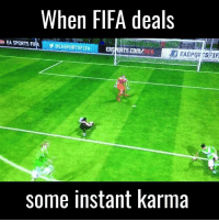 Dank, 🤖, and Sport: When FIFA deals  EA SPORTS FIFA VEEASPORT FIFA EAS OR  some instant karma  STIF Like UNILAD Sport for more sporting goodness! ⚽
