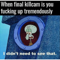 Memes, 🤖, and Aim: When final killcam IS you  fucking up tremendously  I didn't need to see that. Me and my potato aim