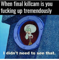 Fucking, Memes, and Turkey: When final killcam IS you  fucking up tremendously  I didn't need to see that. 😞💀😂 🎮Credit; @ 🃏Turn on Post Notifications 🦃Tag a Turkey